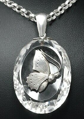 "Antique Rock Crystal Butterfly Insect Bug STERLING SILVER Necklace LARGE 18"" 40g"