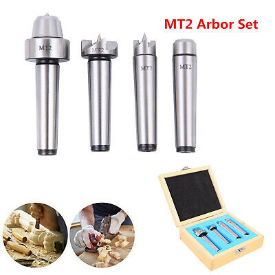 4x MT2 Wood Lathe Live Center Drive Spur Cup Kit Arbor Case Wooden Turning Tools