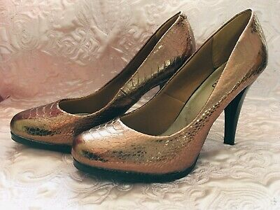 Size 5.5 Or 5 1/2 bronze Snake print effect Limited collection Stiletto shoes