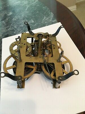 Vintage E. Ingraham 10 16 Brass Clock Movement Part Only.