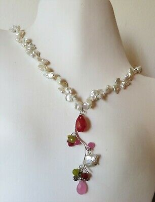Signed Vintage Genuine Keshi Pearl Jade Sterling Silver LAYERING Necklace 18""