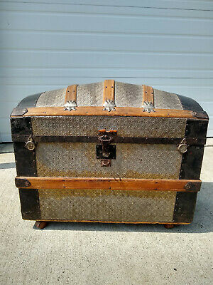 Antique Large Embossed Steamer Trunk Romadka Brothers Victorian Dome Top Camel