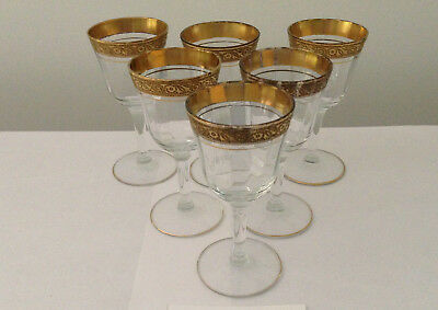"Set of 6 Vintage Gold Rimmed Tiffin ""Rambler Rose"" Cocktail / Cordial Glasses"