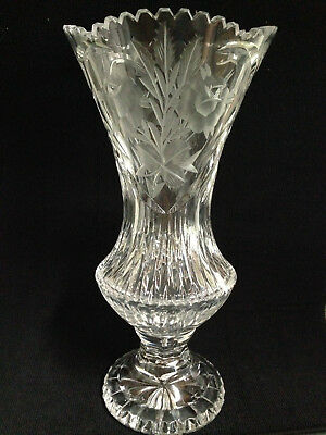 """Stunning vintage heavy cut-glass/crystal footed-vase 12.5""""/scalloped SawtoothRim"""