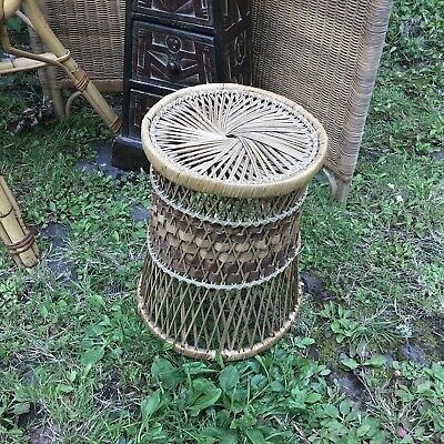 Vintage Retro Wicker Bamboo Cane Rattan Plant Stand Side Table Shabby chic
