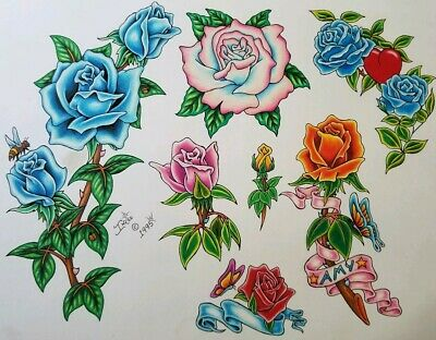 vintage 1995 original signed inkee tattoo flash red yellow roses flowers, monk