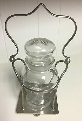 Vintage English Cut Glass Pickle Jar with Glass Stopper Lid EPNS Silver Carrier