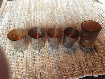 Vtg 4-Chrome Gold Wash Stacking Shot Glasses  Leather Snap Case Made in Germany