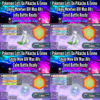 Pokemon Let's Go Pikachu & Eevee Shiny Mew & Mewtwo (6IV/Max/AVs Battle Ready)