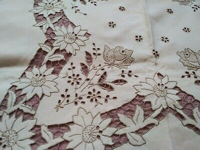 "Madeira Rose Design Embroidered & Cutwork Linen Tablecloth 102x68"" w/11 Napkins"