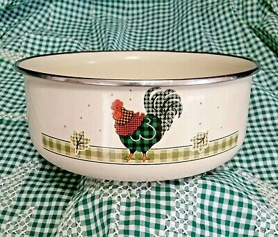 """Rooster Enamelware 7"""" Bowl Ingleman Designs Green Red Plaid Buffalo Check Ivory"""