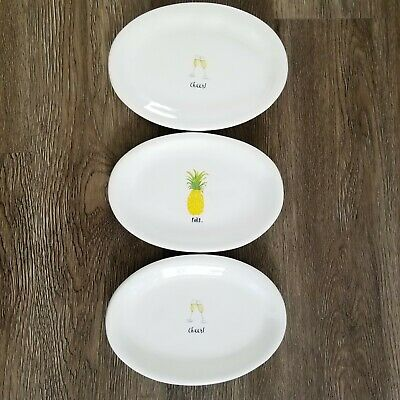 Rae Dunn Appetizer Cheers Pina Champagne Pineapple Plates Size Of 3