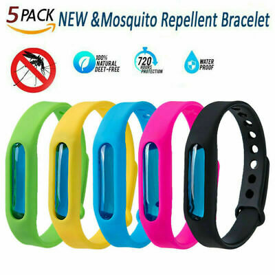 5pc/Set Anti Mosquito Band Insect Essential Oil Bug Repellent Wrist Bracelet New