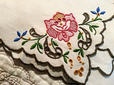 Wow! Amazing Set of 6 Pink Rose Cutwork & Embroidered Madeira Linen Napkins 11""