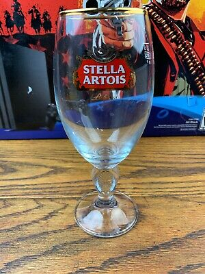 Stella Artois Belgium Gold Rimmed Glass Beer Chalice 33CL