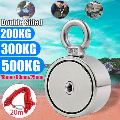 Round Double Sided Fishing Magnet Super Strong Neodymium 500KG Pulling Force UK