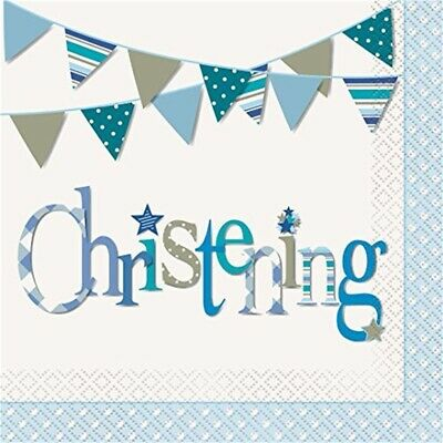 Blue Bunting Christening Napkins, Pack Of 16 - Napkins Party Tableware Boy Paper