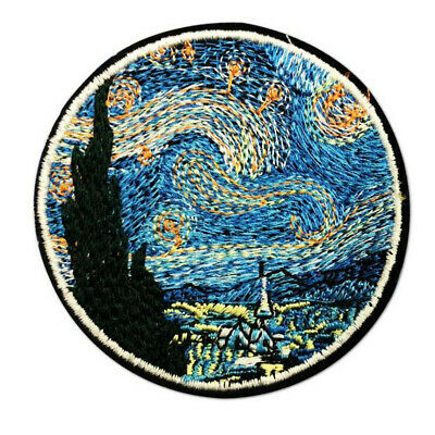 The Star Night Painting Embroidery Iron On Patches Clothes Applique Stickers DIY