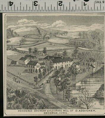 Brewery, Mill and Residence VIEW in Decorah Iowa; Authentic 1875 Item