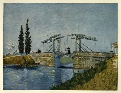 The Drawbridge; by Vincent Van Gogh: Tipped in Art Book Plate 1952 (Abrams)