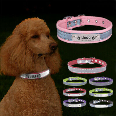Reflective Personalised Small Dog Collars ID Leather For Pet Puppy Cat Tag NEW