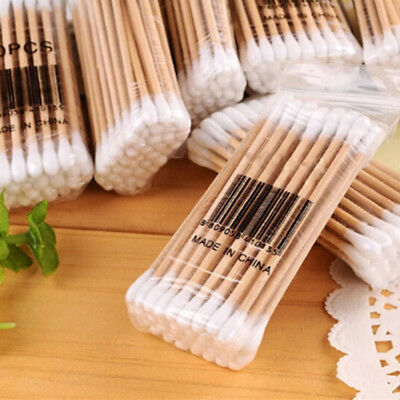 80x Makeup Cotton Swab Double Head Cotton Buds Wood Sticks Ears Cleaning ToolSC