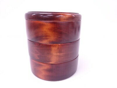 4271613: Japanese Lacquered Three-Tier Stacking Container / Wood Grain