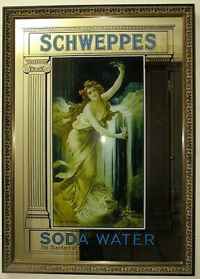Vintage 1920s Schweppes Advertising Mirror
