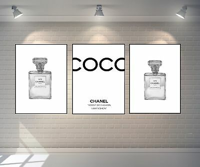 Set Of 3 Chanel Art Prints Perfume Bottle Grey A4