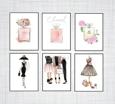 6 X Chanel PERFUME BOTTLE PRINTS FOR HOME DECOR FASHION PRINTS SIZE A5