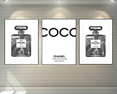 Set Of 3 Chanel Perfume Bottle Prints Marble Black A4 Fashion Art - Home Gifts
