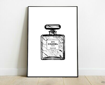 Chanel Perfume Bottle Print Marble White - Home Decor Gifts A4 - Fashion Art