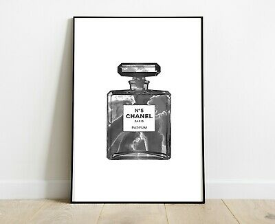 Chanel Perfume Bottle Print Marble Black- Home Decor Gifts A4 - Fashion Art