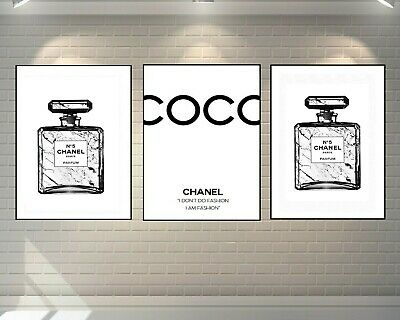 Set Of 3 Chanel Perfume Bottle Prints Marble White A4 Fashion Art - Home Gifts