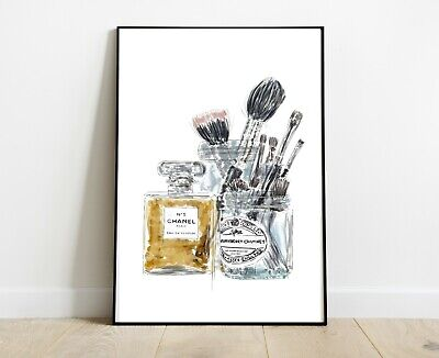 Chanel Print With Make Up Brushes Dressing Room Print A4 Art
