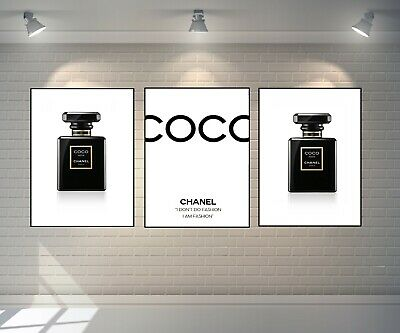 Set Of 3 Chanel Prints Perfume Bottle Art Blck Gold A4 Dressing Room Prints