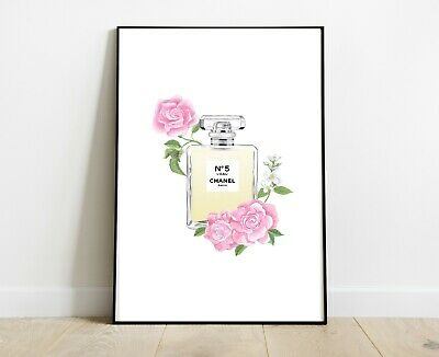 Chanel Print Perfume Bottle Pink Roses For Home Decor Dressing Room A4 Art