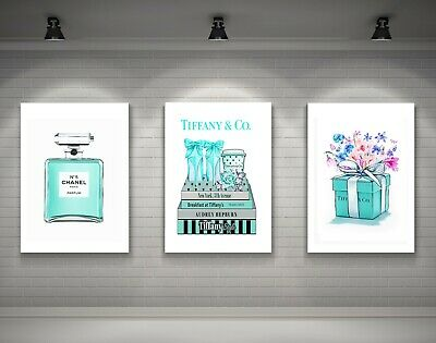 Set Of 3 Tiffany And Co Box Art Prints + Chanel Perfume Bottle Teal Print A4