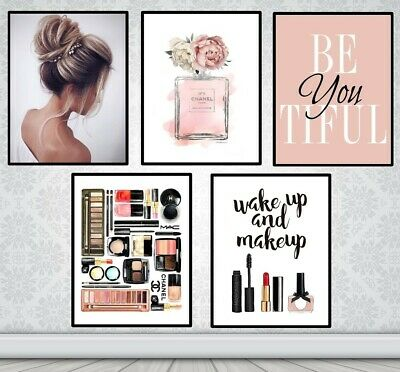 Set Of 5 Coco Chanel Make Up Prints + Be You Tiful Quote - Fashion Art Prints