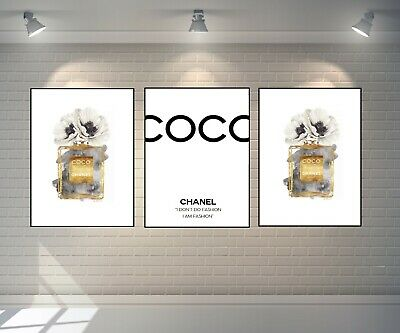Set Of 3 Chanel Prints Gold Perfume Bottle Prints A4 Flowers Art