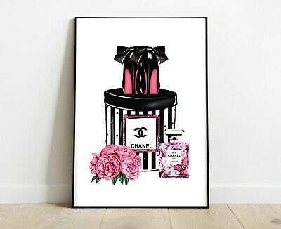 Chanel Perfume Bottle Print With Shoes Dressing Room Prints A4