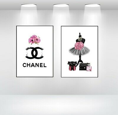 CHANEL Art PINK BLACK FADED WITH DRESS STAND PERFUME BOTTLE ART DRESSING ROOM A4