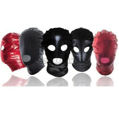 Wet Look PVC Black Red Mask Spandex Full Head Hood Mask Party Bondage Roleplay