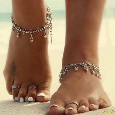 Tibetan Boho Silver Foot Chain Dangle Flower Ankle Bracelet Anklet 1 Pc