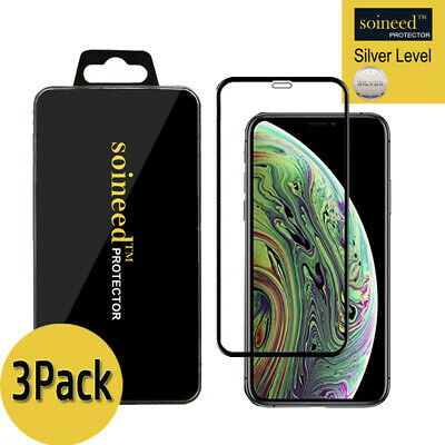 """[3-Pack] Tempered Glass Screen Protector FULL COVER For Apple iPhone Xs Max 6.5"""""""