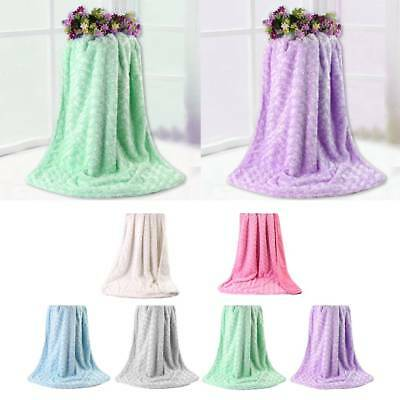 Baby Soft Touching Double-layer Plush Swirl Textured Rosettes Ruffle Blanket