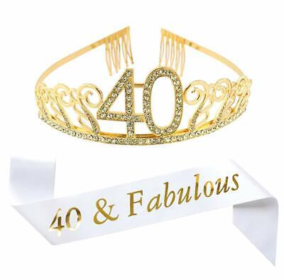 40&FABULOUS GLITTER SATIN Sash Happy 40th Birthday Sash for