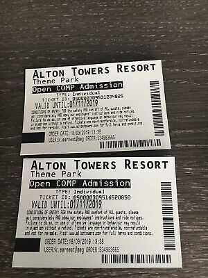Alton Towers Resort Theme Park Tickets X 2 Valid To 1st Nov 19