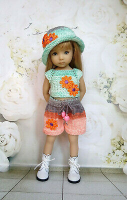 "Handmade Outfit for Doll Dianna Effner 13""Little Darling, Knitted Clothes Dress"