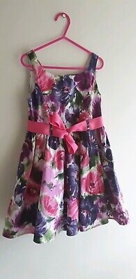 Next Girls Purple Belted Floral Party Dress Age 6